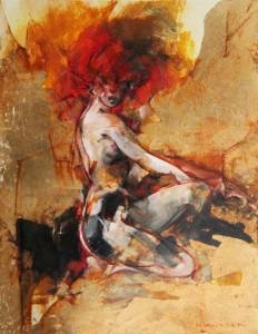 """Vanni Saltarelli """"In Posa"""" 33 x 25 cm Öl auf Aluminiumplatte"""