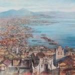 Darstellung des Golfs von Neapel von Angelo Bellini 100 x 100 cm