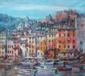 Hafenansicht von Varigotti in Öl gemalt von Angelo Bellini
