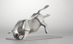 Edelstahlskulptur Stier