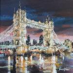 """MITRO """"Tower Bridge, London"""" 120 x 120 cm Mischtechnik auf Leinwand"""