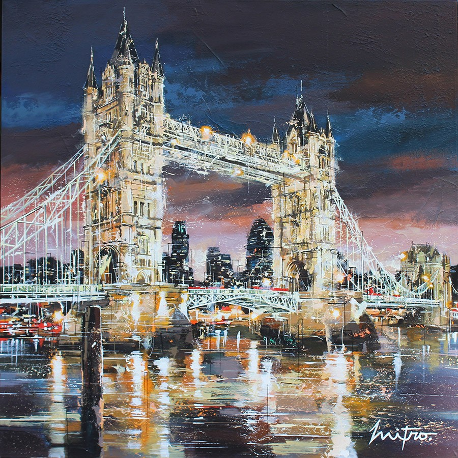 "MITRO ""Tower Bridge, London"" 120 x 120 cm Mischtechnik auf Leinwand"