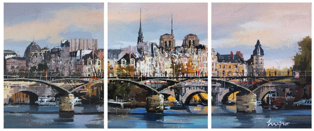 """MITRO """"Pont des Beaux Arts"""" 3 x 92 x 73 cm Mischtechnik auf Leinwand"""