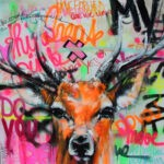 Deer Graffiti 100/100 (floureszierend) by Ilona Griss-Schwärzler