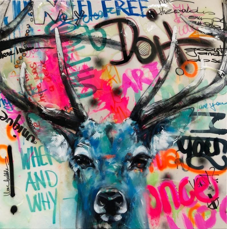 Deer Graffiti von Ilona Griss-Schwärzler 100 x 100