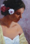 Dame im gelben Kleid von Gerhard Arnold, 30 x 20 cm