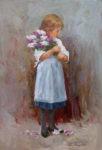 Ölgemälde Mädchen mit Flieder von Gerhard Arnold, 30 x 20 cm